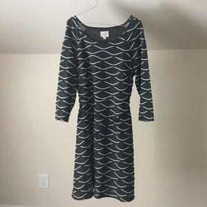 ECI NY Gray Tiered A Line Soft Boat Neck Dress